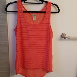 Orange Stripe/Sheer/Lace High/Low Tank - Sz. M